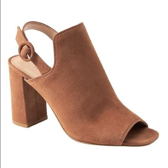 Brown tan suede block heels straps size 8 open toe
